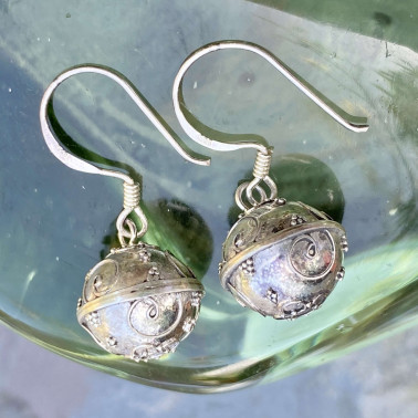 ER 13881-(HANDMADE 925 BALI SILVER SOUND HARMONY BALL EARRINGS 12 mm)